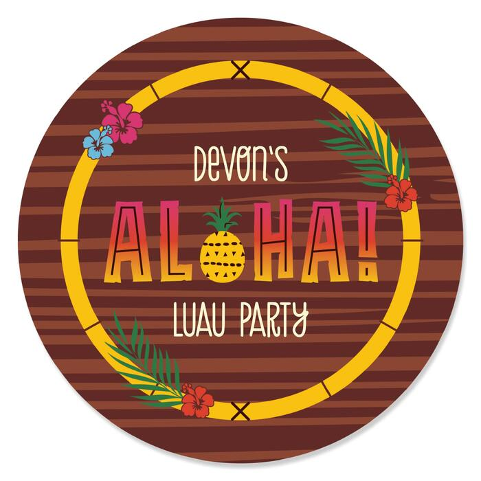 Tiki Luau - Round Personalized Tropical Hawaiian Summer Party Sticker Labels - 24 ct