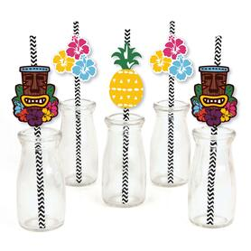 Tiki Luau - Paper Straw Decor - Tropical Hawaiian Summer Party Striped Decorative Straws - Set of 24