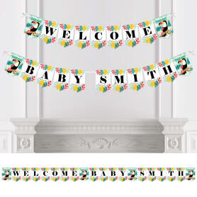 Calling All Toucans - Personalized Tropical Bird Baby Shower Bunting Banner and Decorations