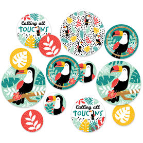 Calling All Toucans - Tropical Bird Baby Shower or Birthday Party Giant Circle Confetti - Party Decorations - Large Confetti 27 Count