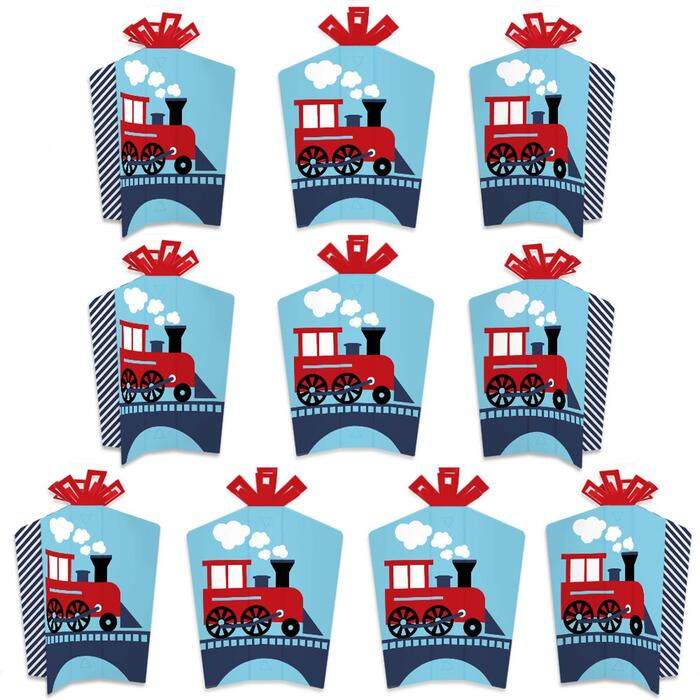 Railroad Party Crossing - Table Decorations - Steam Train Birthday Party or Baby Shower Fold and Flare Centerpieces - 10 Count