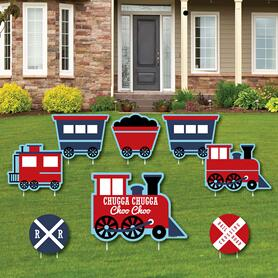 Railroad Party Crossing - Yard Sign & Outdoor Lawn Decorations - Steam Train Birthday Party or Baby Shower Yard Signs - Set of 8