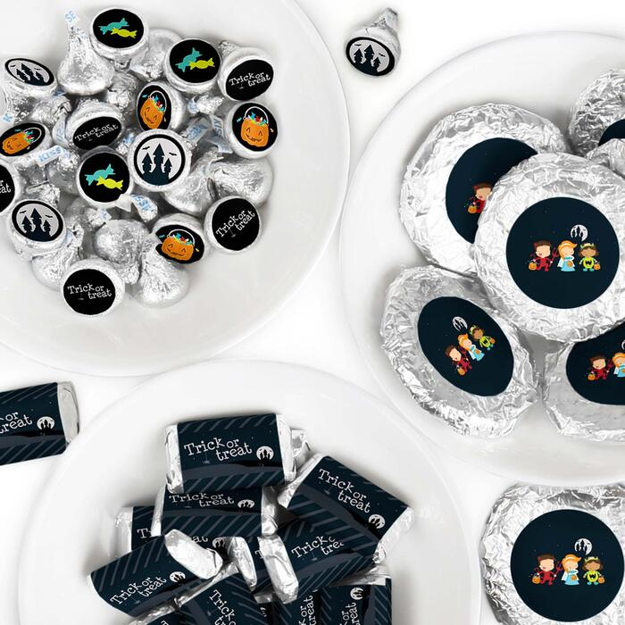 Trick or Treat - Mini Candy Bar Wrappers, Round Candy Stickers and Circle Stickers - Halloween Party Candy Favor Sticker Kit - 304 Pieces