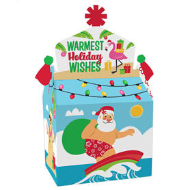 Tropical Christmas - Treat Box Party Favors - Beach Santa Holiday Party Goodie Gable Boxes - Set of 12