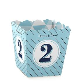 Two Much Fun - Boy - Party Mini Favor Boxes - Personalized 2nd Birthday Party Treat Candy Boxes - Set of 12