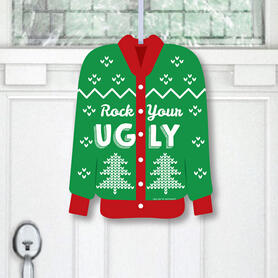 Ugly Sweater - Hanging Porch Holiday and Christmas Party Outdoor Decorations - Front Door Decor - 1 Piece Sign