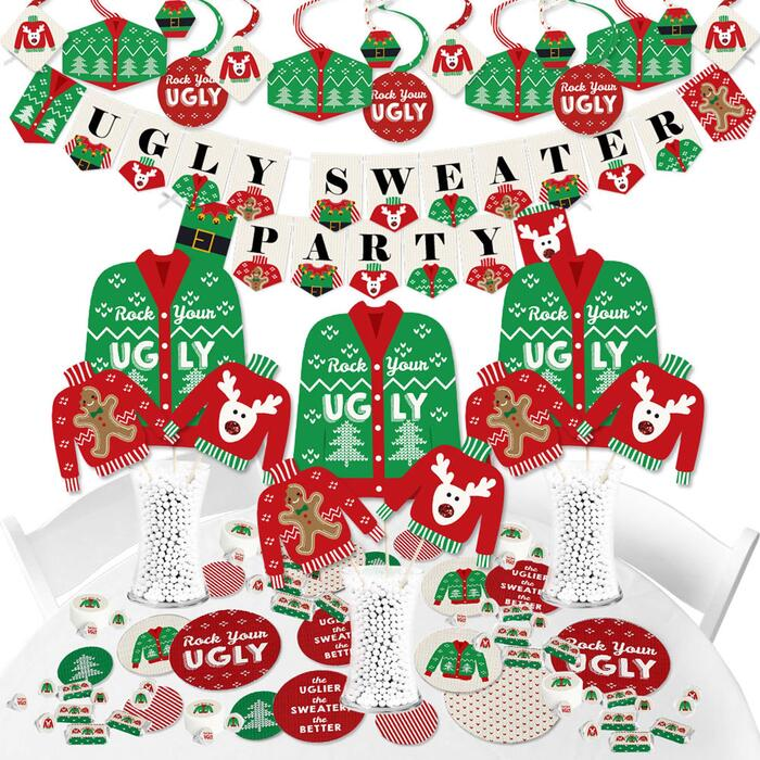 Ugly Sweater - Holiday and Christmas Party Supplies - Banner Decoration Kit - Fundle Bundle