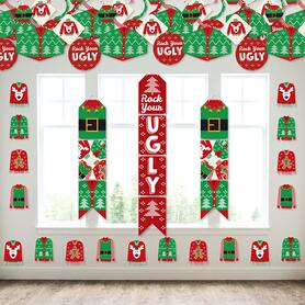 Ugly Sweater - Wall and Door Hanging Decor - Holiday and Christmas Party Room Decoration Kit