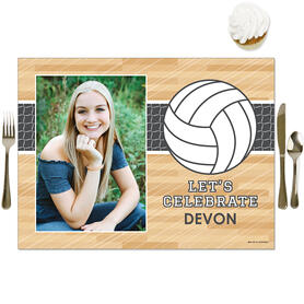 Bump, Set, Spike - Volleyball - Personalized Baby Shower or Birthday Party Table Decorations - Photo Placemats - Set of 16