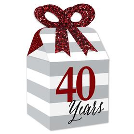 We Still Do - 40th Wedding Anniversary - Square Favor Gift Boxes - Anniversary Party Bow Boxes - Set of 12