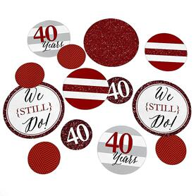 We Still Do - 40th Wedding Anniversary - Wedding Anniversary Giant Circle Confetti - Ruby Anniversary Party Decorations - Large Confetti 27 Count