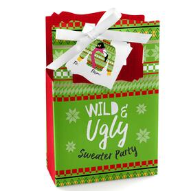 Wild and Ugly Sweater Party - Holiday and Christmas Animals Party Favor Boxes Gift Bag - Set of 12
