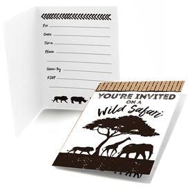 Wild Safari - Fill In African Jungle Adventure Birthday Party or Baby Shower Invitations - 8 ct