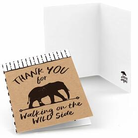 Wild Safari - African Jungle Adventure Birthday Party or Baby Shower Thank You Cards - 8 ct