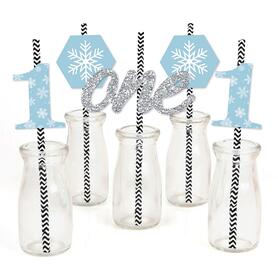 ONEderland - Paper Straw Decor - Holiday Snowflake Winter Wonderland Birthday Party Striped Decorative Straws - Set of 24