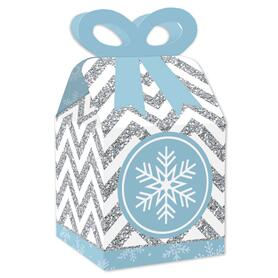 Winter Wonderland - Square Favor Gift Boxes - Snowflake Holiday Party and Winter Wedding Bow Boxes - Set of 12