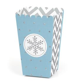 Winter Wonderland - Snowflake Holiday Party and Winter Wedding Popcorn Treat Boxes - Set of 12