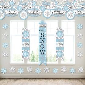 Winter Wonderland - Wall and Door Hanging Decor - Snowflake Holiday Party and Winter Wedding Room Decoration Kit