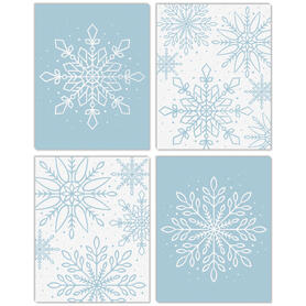 Winter Wonderland - Unframed Snowflake Holiday Linen Paper Wall Art - Set of 4 - Artisms - 11 x 14 inches