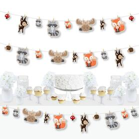 Woodland Creatures - Baby Shower or Birthday Party DIY Decorations - Clothespin Garland Banner - 44 Pieces