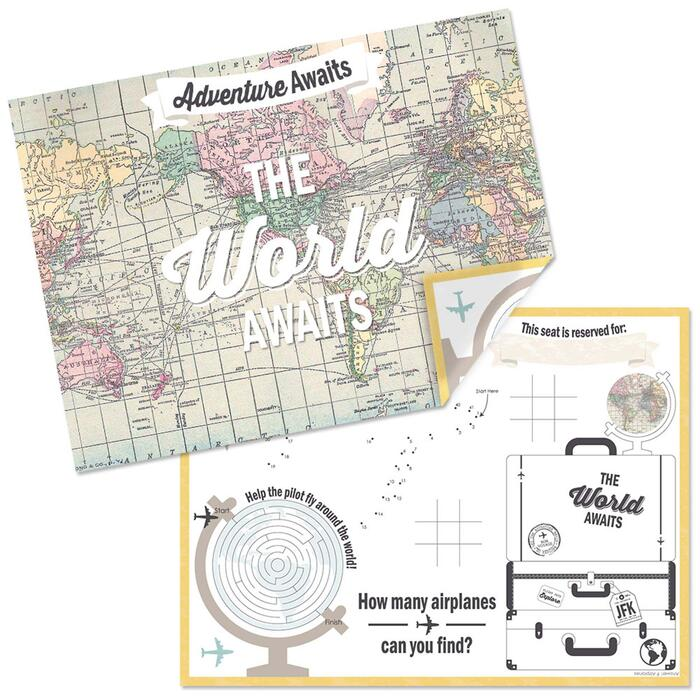 World Awaits - Paper Travel Themed Birthday Party Coloring Sheets - Activity Placemats - Set of 16