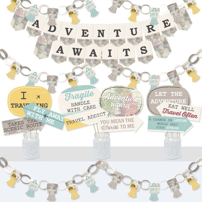 World Awaits - Banner and Photo Booth Decorations - Travel Themed Party Supplies Kit - Doterrific Bundle