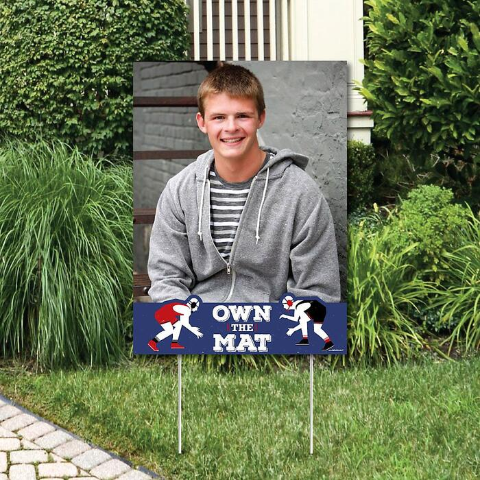 Own The Mat - Wrestling - Photo Yard Sign - Birthday Party or Wrestler Party Decorations
