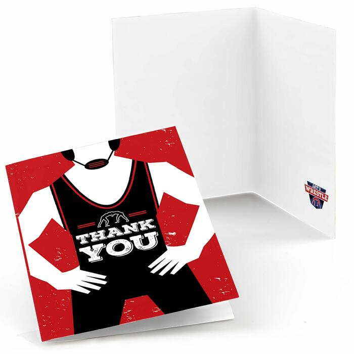 Own The Mat - Wrestling - Birthday Party or Wrestler Party Thank You Cards - 8 ct