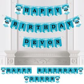 Yeti to Party - Personalized Abominable Snowman Birthday Party Bunting Banner & Decorations