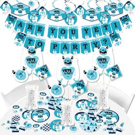 Yeti to Party - Abominable Snowman Party or Birthday Party Supplies - Banner Decoration Kit - Fundle Bundle