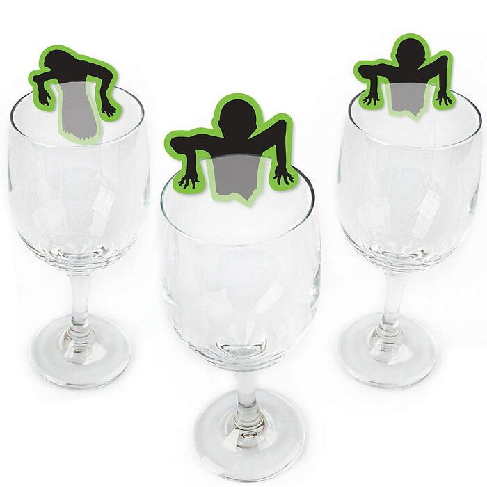 Zombie Zone - Shaped Halloween or Birthday Zombie Crawl Party Wine Glass Markers - Set of 24